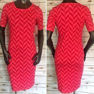 LuLaRoe Pink Zigzag Midi Dress - Size XS